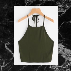 2 OD GREEN CROP RACER CAMI TOPS